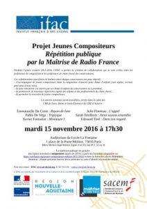 Projet Jeunes Compositeurs Ifac Radio-France